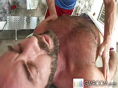 Haired man gets massage