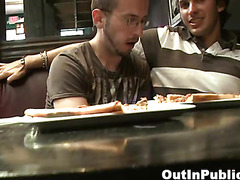 Sucking cock at restaurant table