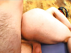 Haired butt plowed raw