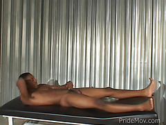Solo black guy masturbates