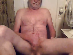 Grandpa cums on the table