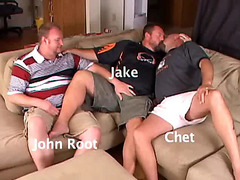 Fat guys in gay trio