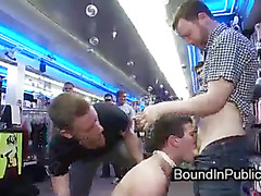 Bound gay sprayed with sperm in public