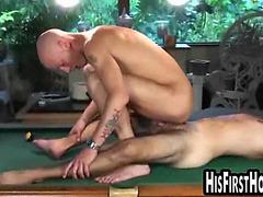 Bald boy gets banged on pool table