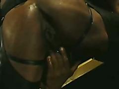 Black Leather Stud Plays with Big Dildo
