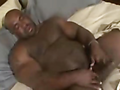 Thick black man masturbates
