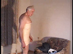 Kinky grandpa plays with cock