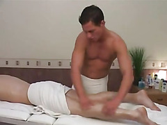 Without Condoms man-sized prick after massage