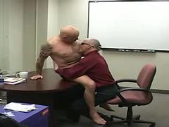 Gay mature fuck at office