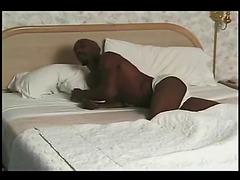 Ebony solo pecker fucking off