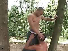 Army guys fuck in woods