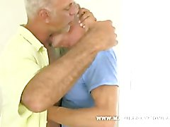 Sexy silverdaddies sipping, ass licking and drilling