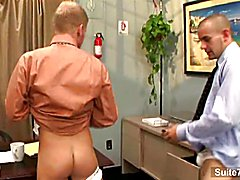 Blonde gay gets backside nailed at work