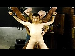 BDSM bondage gay teenager is whipped and milked