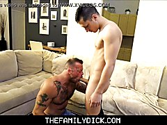 Hot athletic lad step pappy with tattoos sean duran drilled by step son tristan hunter on family couch