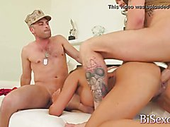 Busty star mercedes carrera banged by two military guys