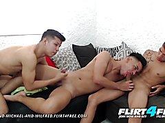 Tony, michael and wilfred flirt4free barebacking latin 3some webcam show