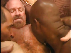 Interracial mature gay threesome