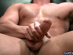 Hot solo muscled man wanking