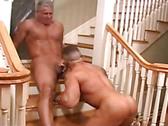 Muscular daddy fucks muscular bottom