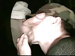 Military man gives gloryhole blowjob