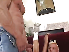 Muscle daddy fucks a tight twink