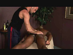 Massage and fingering for ebony guy
